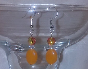 Orange glass dangle earrings