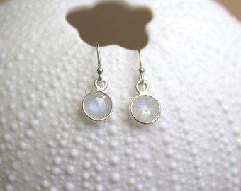 Silver moonlight moonstone dangle earrings