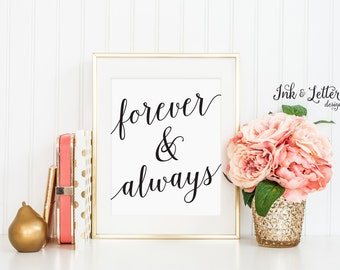 Forever and Always Print - Black and White Wall Decor - Black and White Art - Instant Download - Digital Printable - 8x10
