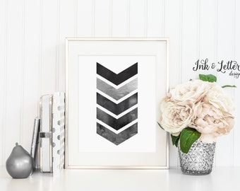 Chevron Wall Art - Nursery Wall Art - Black and White - Ombre Wall Art - Home Decor - Faux Silver - Instant Download - Digital Print - 8x10