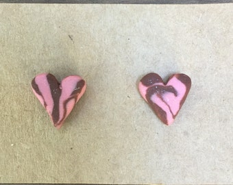 Swirly pink and brown clay heart earring studs