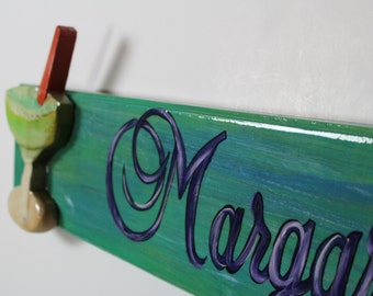 MARGARITA THIS WAY - Handpainted margarita sign on cypress wood with high gloss finish.