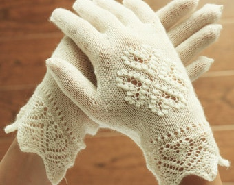 Hand-knitted gloves, White Estonian Lace, Bridal Gloves, White Gloves