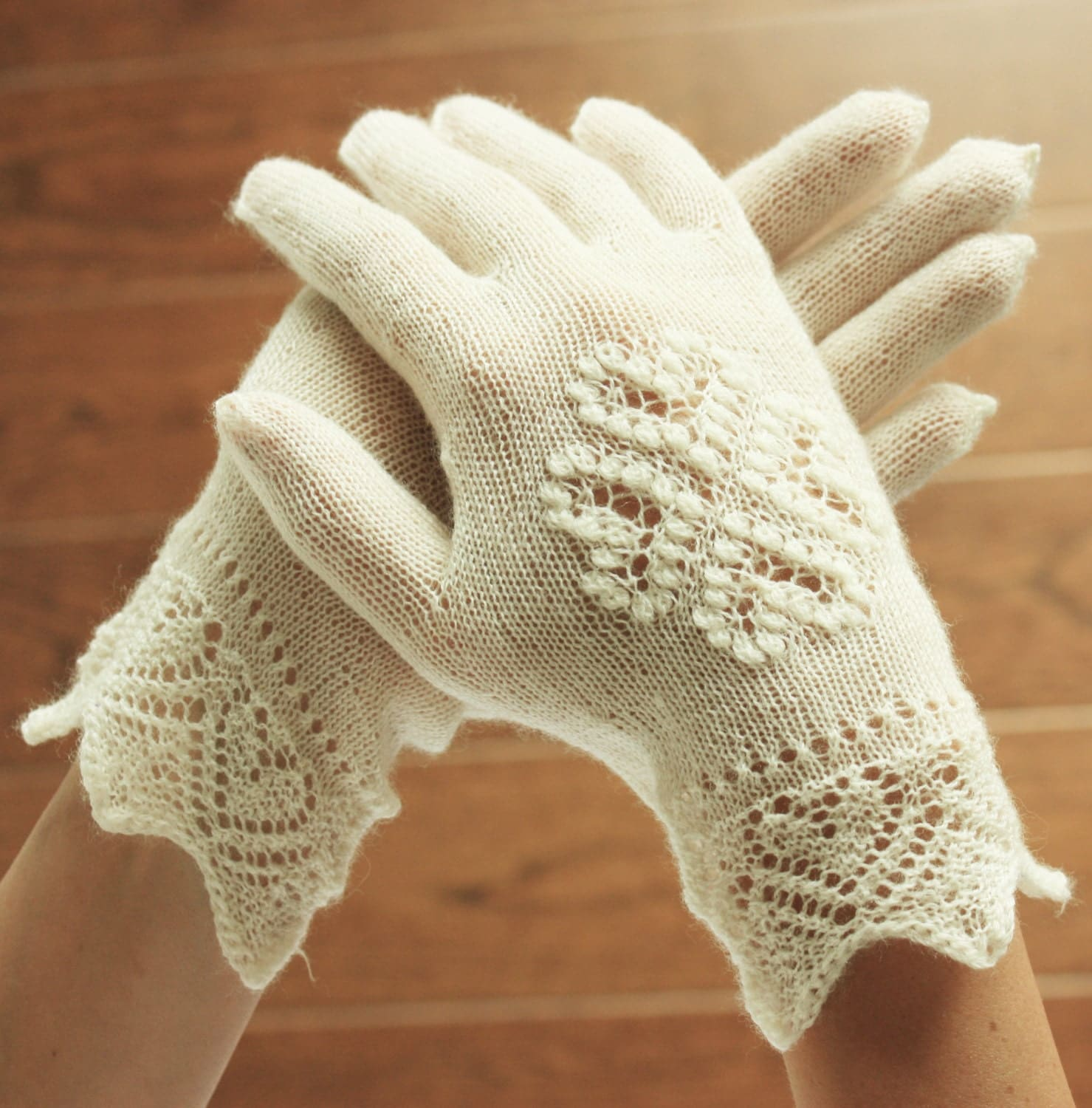 Knitting Pattern For Lace Gloves : Hand-knitted gloves White Estonian Lace Bridal Gloves White