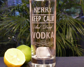 Personalised Engraved Keep Calm and Drink Vodka, Gin, Rum Glass, Ideal Gift For Birthday ~ Christmas ~ Best Friend ~ Mum ~ Dad, Boxed