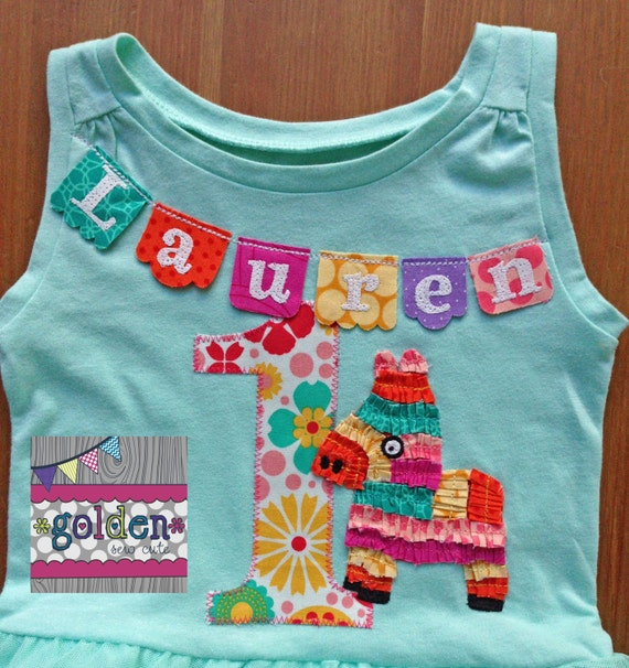 Fiesta Pinata Bunting Birthday Party Tee with Age and Name
