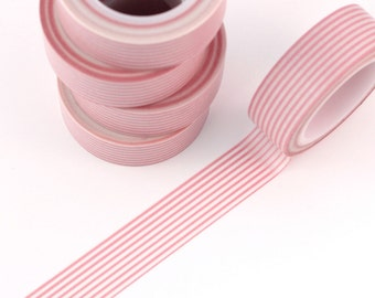 Washi Tape - 1 Roll of Pink Horizontal Striped Tape