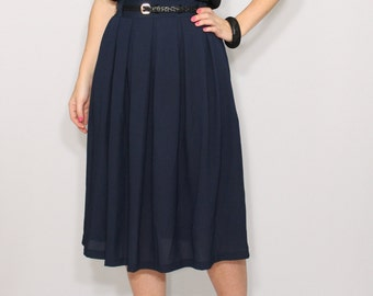A-line Midi skirt Navy skirt Women skirt Chiffon skirt High waisted skirt with pockets