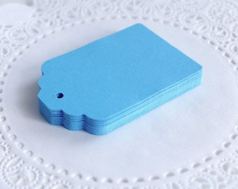Large Scallop Top Tags, Sky Blue Scallop Tags, Cardstock Hang Tags, Wedding Favor Tags, Gift Tags