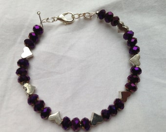 Purple Crystal Beaded Bracelet with Silver Hearts