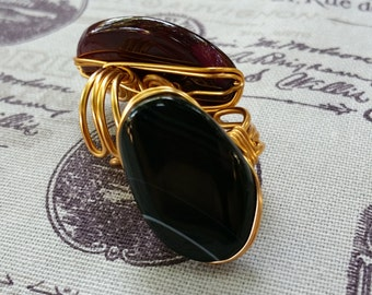 Onyx and Brass Ring