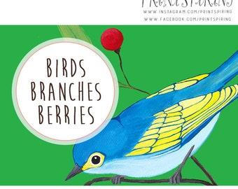 INSTANT DOWNLOAD Digital Bird ClipArt - Birds, Berries, Trees Clip Art