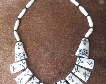 Square Kenyan bone necklace - all proceeds support charity