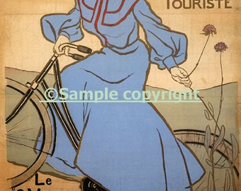 Bike Lady Riding Bicycle France French Fashion Sport Vintage Poster Repro FREE SHIPPING