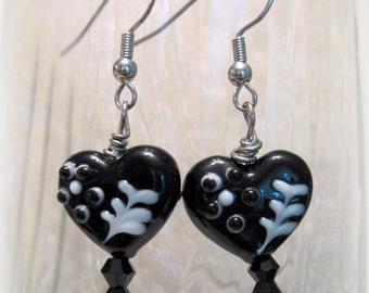 Black and White Heart Earrings, Valentine Earrings, Heart Earrings, Valentine Gift for Her