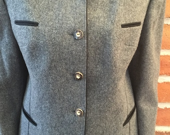 Genuine Loden (wool) /Austrian Women's Skirt Suit. Pocket and Stitch Detail. Antler buttons. Made in Salzburg. EUR Size 44/US Size 8-10.