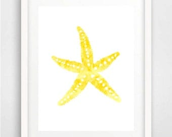 Watercolor painting, Starfish painting, Starfish print, Nautical art, Yellow wall art, Watercolor print, Beach print, Kids Room art, Yellow
