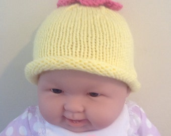 Sunshine and Flowers Hand Knit Baby Hat with Crocheted Flower