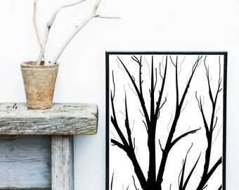 Minimalist Poster, Tree Print, Branches, Printable Art,  Scandinavian Art, Wall Decor,black and White Print, Home Decor, wall Decor