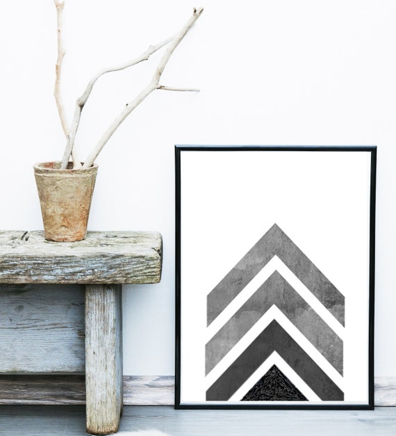 Grey Arrow Wall Decor : Geometric print printable art grey chevron by exileprints