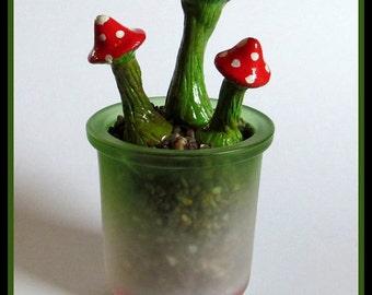 Rustic Green Toadstool. Fairy garden Accessories.