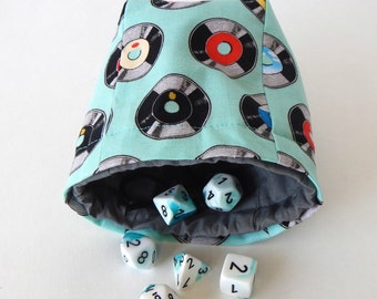 """Limited Edition Custom Dice Bag - """"Vynil"""" pattern - Choice of Interior Color"""