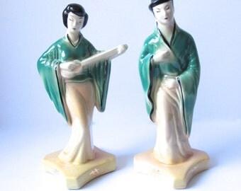 Pair of Ceramic Japanese Figurines