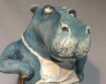 hippo handmade, hippopotamus, hippo handmade,  janitor hippo, magnificent Hippo