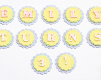 Fondant Letter Alphabet Name Cake/ Cupcake Toppers - set of 12