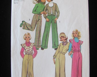 1973 Simplicity 5826 Unlined Vest Jacket Pants Pattern Girls Size 10 or 12