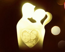 Valentine wedding engagement anniversary sweetheart silhouette couples gift light custom made personalized 3d printing lithophane photo lamp