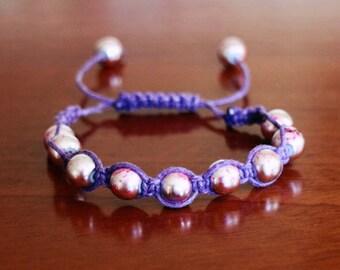 Handmade Pink Marbled Macrame Bracelet