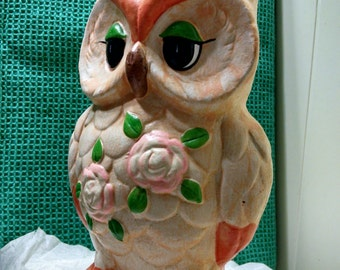 Chalkware or Ceramic Type Owl Coin Bank