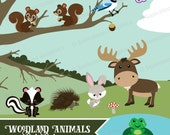 Woodland Animals Clipart - Instant Download File - Digital Graphics - Cute - Crafts, Web, Parties - Commercial & Personal Use - #A009