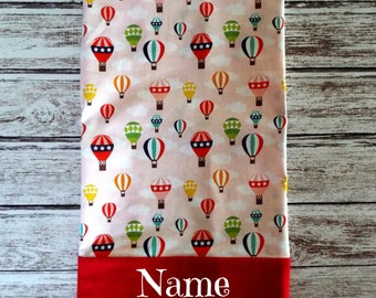 Adorable Hot Air Balloon Pillowcase,Brightly colored balloons that any little girl would love, Embroidered, Monogrammed, Personalized