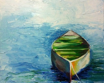 "Lonely boat. Oil painting on square canvas 10""x10"" (25x25 cm)"