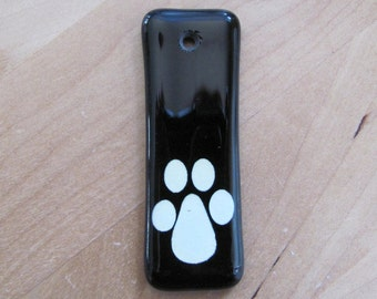Hand-Painted Glass Pendant, Black & White, Paw Print Accent