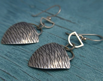 Statement Curvilinear Triangle Earrings / Sterling Silver / Hand Formed / Hand Hammered Texture