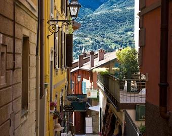 Italy Fine Art Print, Bellagio Pathway, Bellagio Italy, Lake Como Italy, Italian Architecture, Yellow Stucco Building, Northern Italy Photo