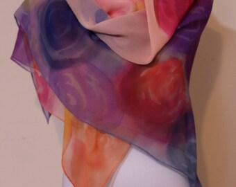 "Pastel scarf, 44"" X 44"", Handmade Silk Scarf, Hand Painted Silk Scarf, Scarves, Chiffon Silk, Womens Silk Scarves, Floral"