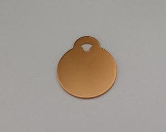Pet ID Tags, Dog Tags, Cat Tags, Engraved Pet ID Tags, Small Copper Circle Tag