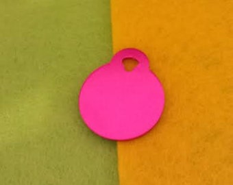 Pet ID Tags, Dog Tags, Cat Tags, Engraved Pet ID Tags, Small Pink Circle Tag
