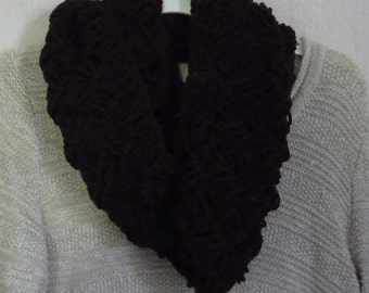 Crochet Infinity Scarf Chocolate Brown
