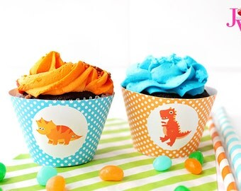 Dinosaur Rawr Printable Cupcake Wrappers, Cupake Wraps, Dinosaur Party Printables, Dinosaur Cupcake Wrappers, Dinosaur Party