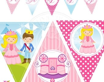 Little Princess Printable Party Banner, Printable Princess Happy Birthday Banner, Princess Party Banner, Triangle Banner, Princess Banner