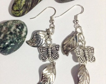 Butterfly and leaf charm earrings