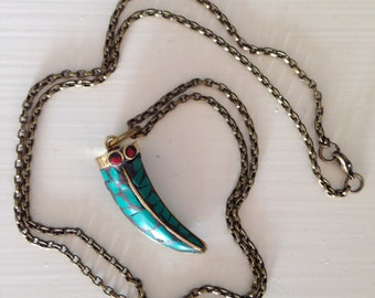 Tibetan tusk necklace, brass, teal and red