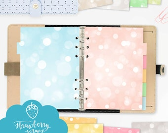 """A5 dashboard set: """"COLORFUL BOKEH SPARKLES"""" A5 dividers 