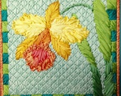 Orchid Silk Flower Needlepoint Complete Kit