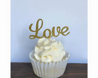 Love Cupcake Toppers, Glitter Cupcake Toppers, Valentines Day Cupcake Toppers, Wedding Cupcake Toppers